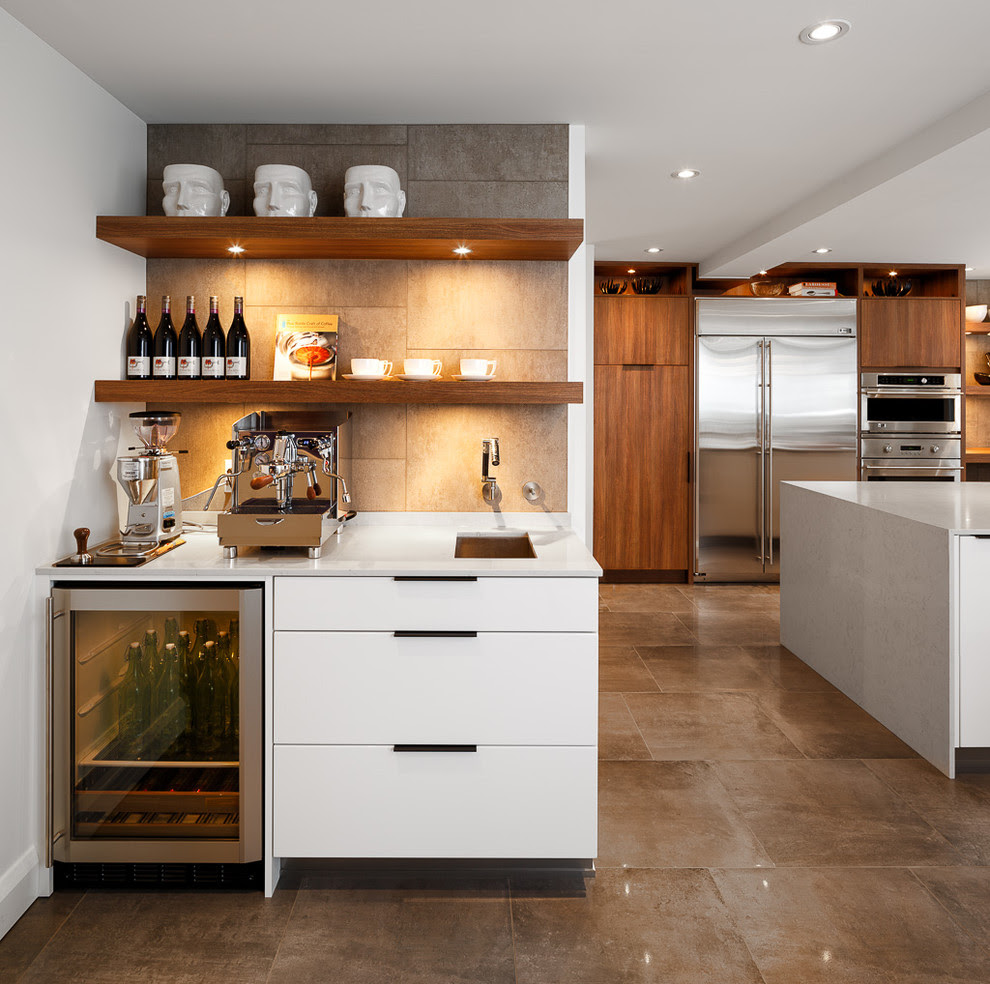 Innovative bodum coffee grinderin Kitchen Contemporary with Prepossessing Wine Bar Ideas next to ...