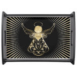 Golden Filigree Christmas Angel of Grace on Black Serving Tray