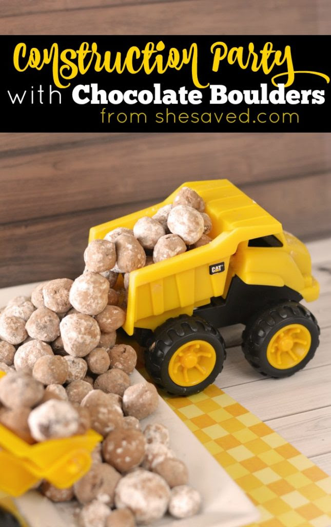 Host a fun Dump Truck Construction Party and make these fun Chocolate Boulders for a birthday party that the kiddos will LOVE!