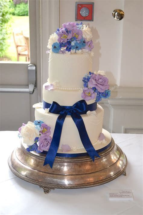 3 Tier Blue and Lilac Floral Wedding Cake   Wedding Cakes