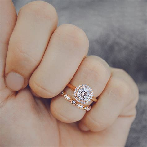 Rose Gold Diamond Engagement Rings and Wedding Bands