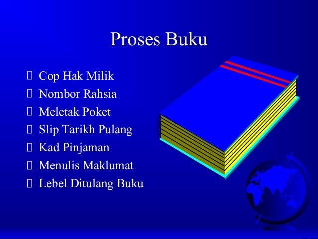 Proses Buku Cop Hak Milik Nombor Rahsia Meletak Poket Slip Tarikh Pulang Kad Pinjaman Menulis Maklumat Lebel Ditulang Buku