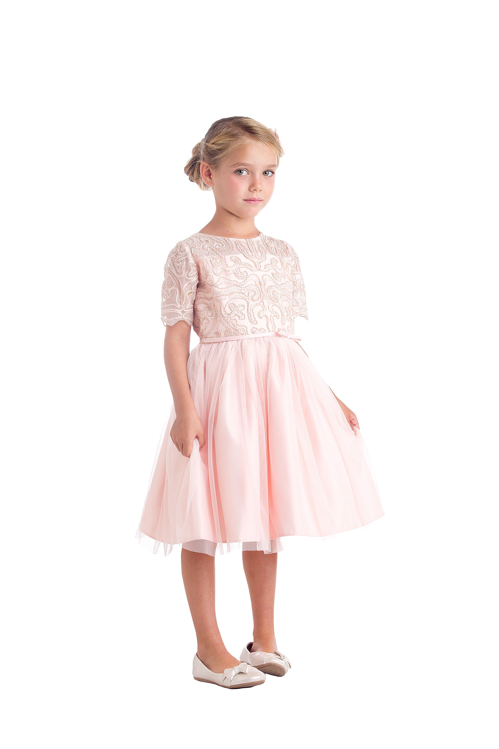 sk693p  girls dress style 693  short sleeve corded