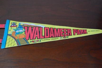 Vintage ROLLER COASTER Waldameer Park, PA Wall Pennant SALE