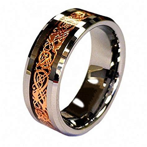 18K Rose Gold Plated Celtic Dragon 8mm Tungsten Carbide