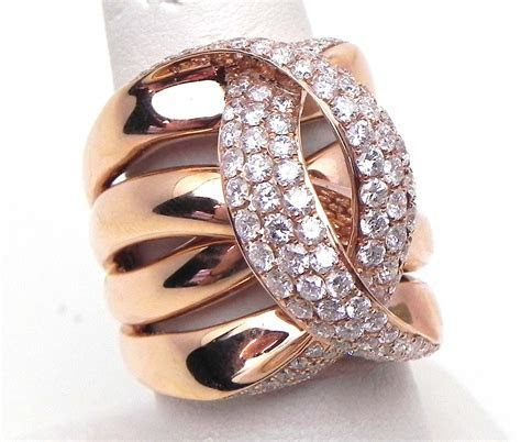 Ladies 14k Rose Gold 2.42 Cts. Diamonds Crossing C Wide