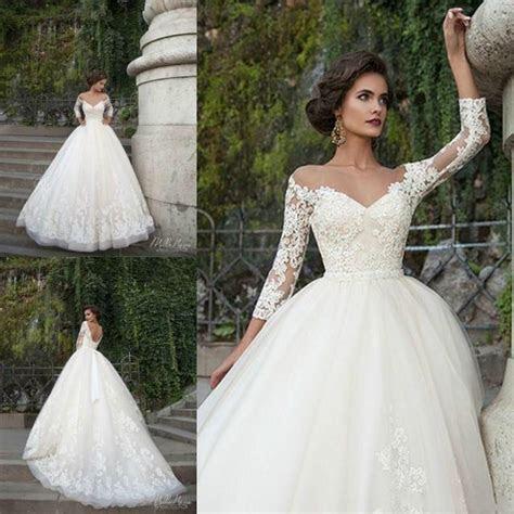 Sexy Milla Nova Wedding Dresses 3/4 Long Sleeve Sheer