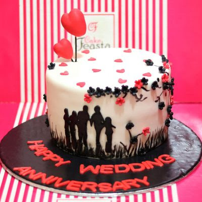 Red Theme Anniversary Cake Fondant Cakes Free Delivery