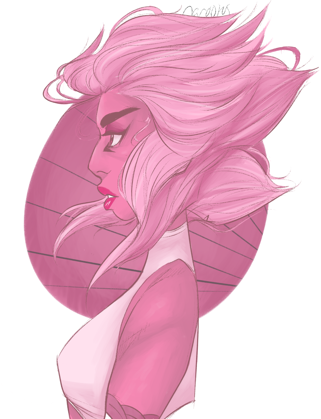 drew a pink diamond design !