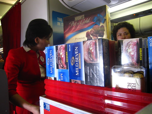 Malaysian cigarettes with gruesome cancer pictures for sale, Air Asia