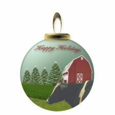 Angus Cow Christmas Farm Ornament photosculpture