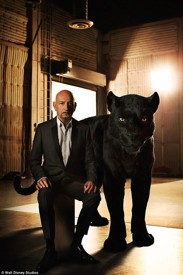 Intimidating: Legendary actor Ben Kingsley looked sophisticated in a suit as he sat upright beside a large, black panther - his onscreen alter ego Bagheera, who acts as Mowgli's protector