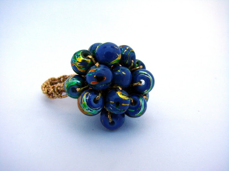 Slate Blue Confetti Crochet Bead Ring