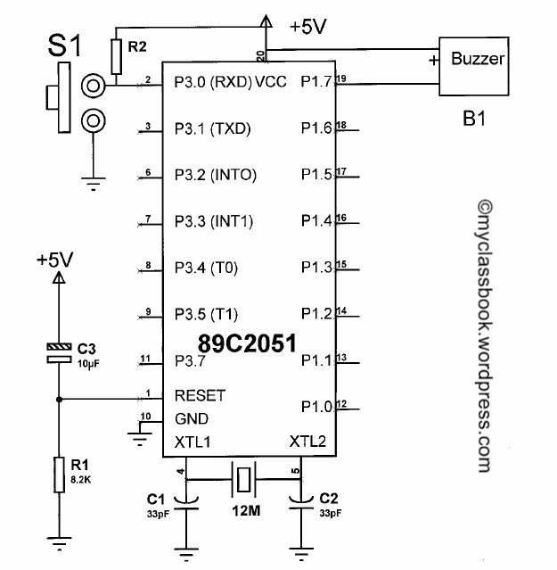 simple buzzer interface circuit diagram