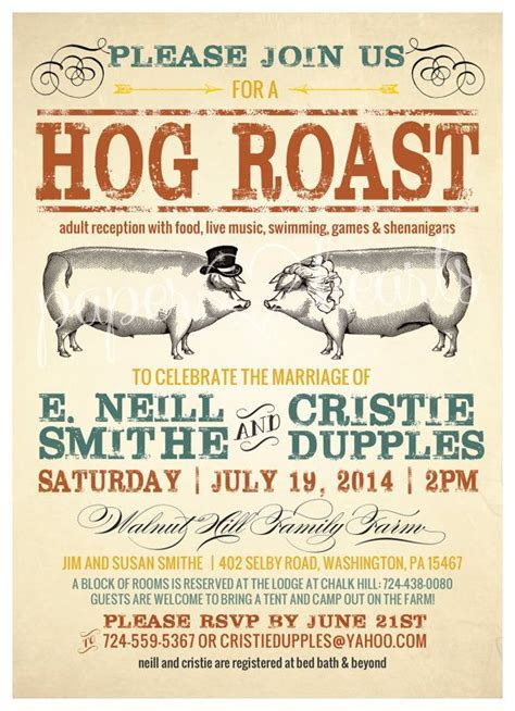 Hog Roast Wedding Invitation for Outdoor Wedding or