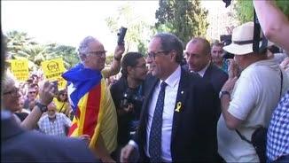 El president de la Generalitat, Quim Torra, aquest divendres a la concentració de l'ANC i Òmnium a Tarragona
