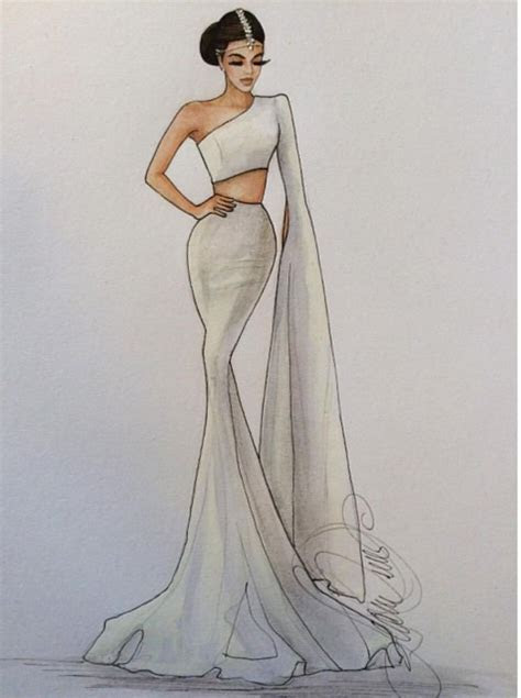 @karenorrillustration. Bridal fashion illustration on