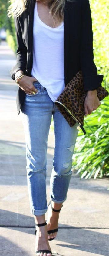 White tee + black blazer + heels.