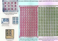 Sheets of red, green and blue stamps