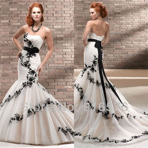 Enchanting Black And White Mermaid Wedding Dresses