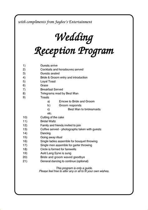 Wedding Reception Program Template Business Plan For Free