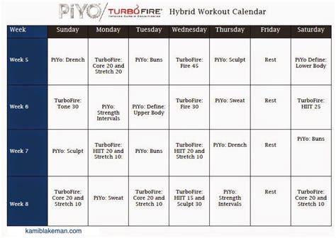turbo firepiyo hybrid workout schedule workout schedule