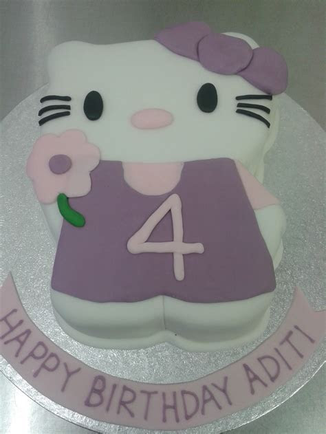 Purple Hello Kitty 4th Birthday Cake   Crumbs Cake Shop