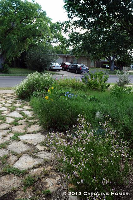 Flagstone path, perennials and Bermuda
