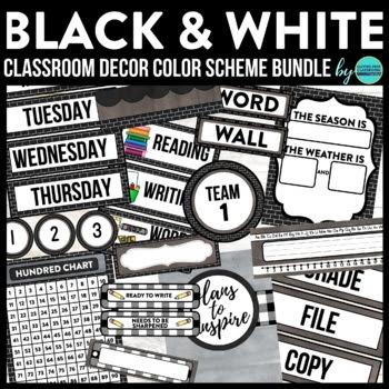 BLACKLINE DESIGN- CLASSROOM DECOR & MORE BUNDLE (BLACK, WHITE ...