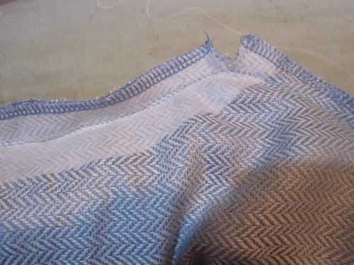 Clip to stitch line for corner