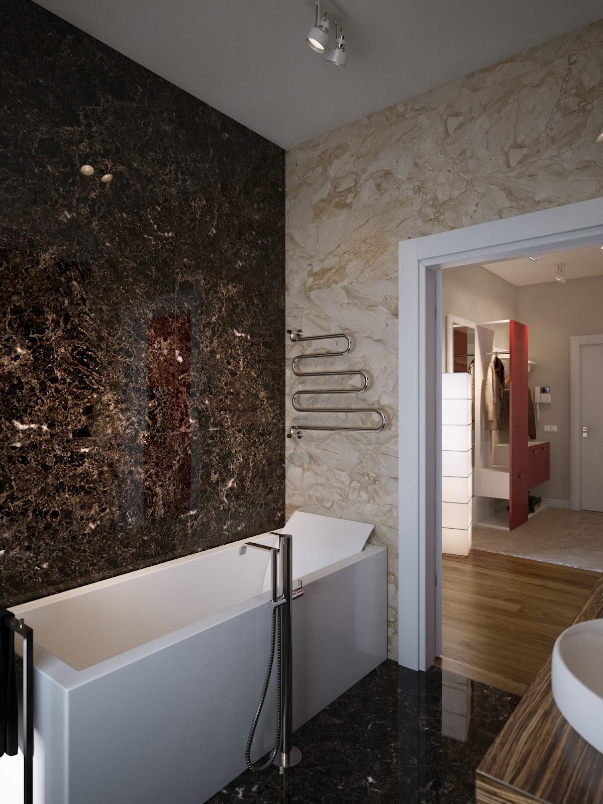 Brown cream marble bathroom wallsInterior Design Ideas.