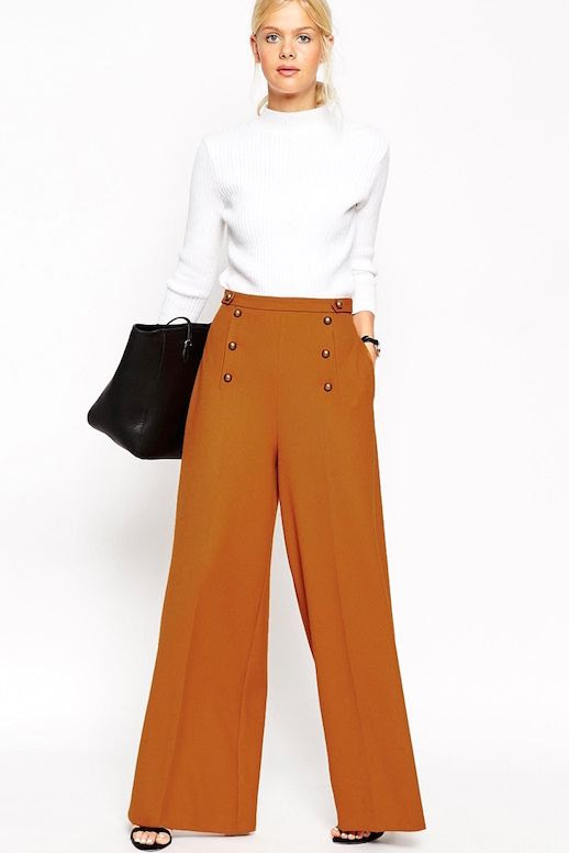 Le Fashion Blog Fall Work Style Ribbed White Mock Neck Sweater Leather Tote Brown Orange Button Front Wide Leg Pants Via ASOS