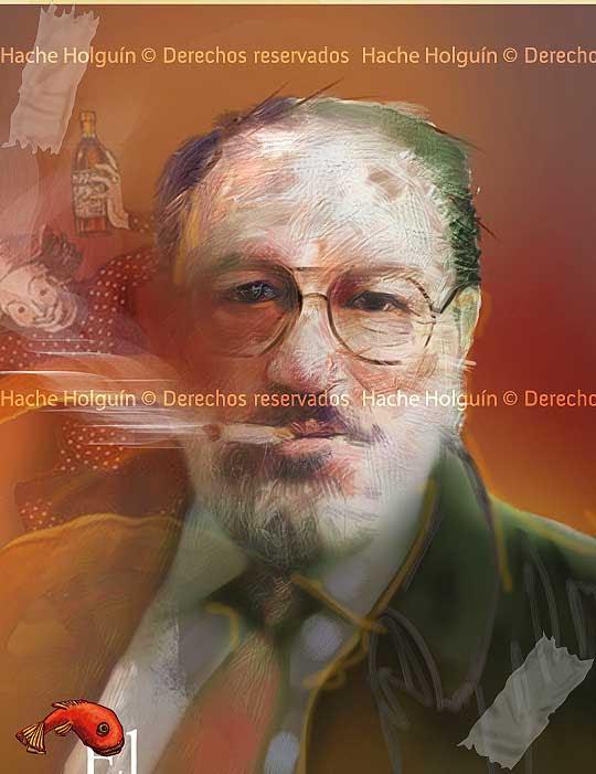 Retrato de Umberto Eco por Hache Holguín
