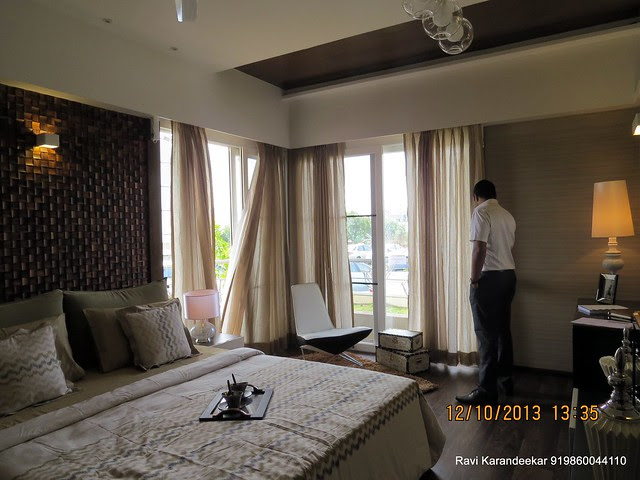 "Light, Ventilation, View & Romance - 12' x 15' 6"" Master Bedroom with Juliet Balcony - Did you visit the 4 BHK show flat of Metro Jazz, opposite VITS Hotel,  Mhalunge - Baner Annex?"