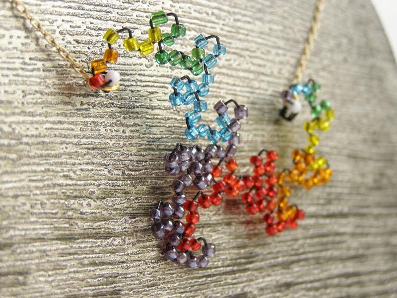 Beaded Dragon Curve Fractal Necklace - Rainbow