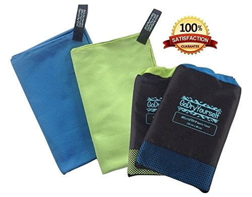 GoDryYourself Premium Quality Compact Gym & Travel Microfibre Towel with carry bag Large Great for gym camping kit swim yoga pilates festival beach or bath