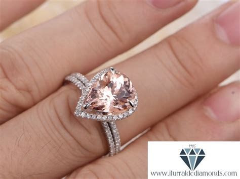10x12mm Pear Shape Morganite Engagement Ring White Gold