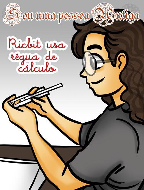 Ricbit usa régua de cálculo, usando régua de cálculo, ilustração by ila fox
