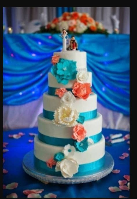 Coral and turquoise wedding cakes   Wedding   Pinterest