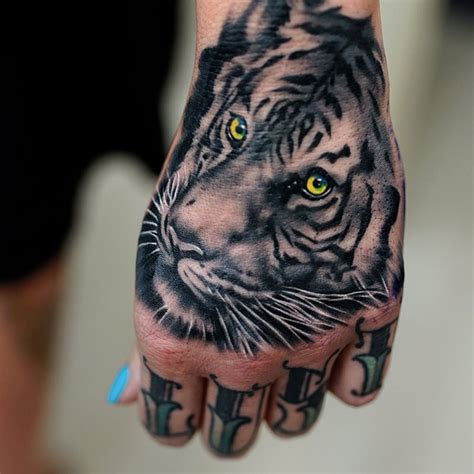 white tiger face hand tattoo fashionleech trend
