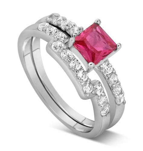 2 Carat Pink Sapphire and Diamond Wedding Ring Set in