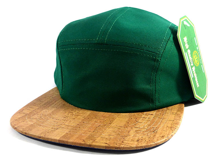 Wholesale Blank Wooden Cork 5-Panel Hats Caps - Green   Linings