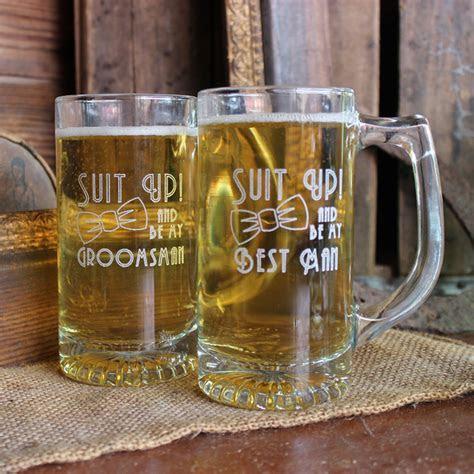 Suit Up Wedding Party Engraved 13 oz Glass Beer Mug
