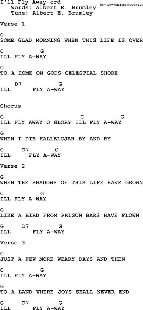 I Ll Fly Away Hymn Lyrics And Chords