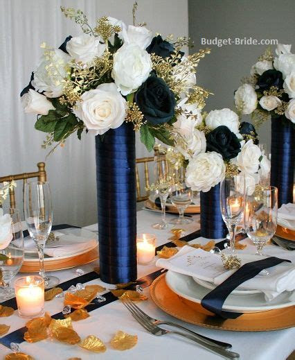 Tall Reception Centerpieces made with navy, ivory and gold