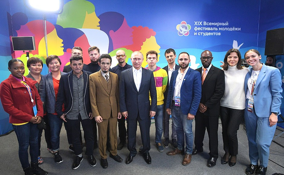 With participants of19th World Festival ofYouth andStudents.