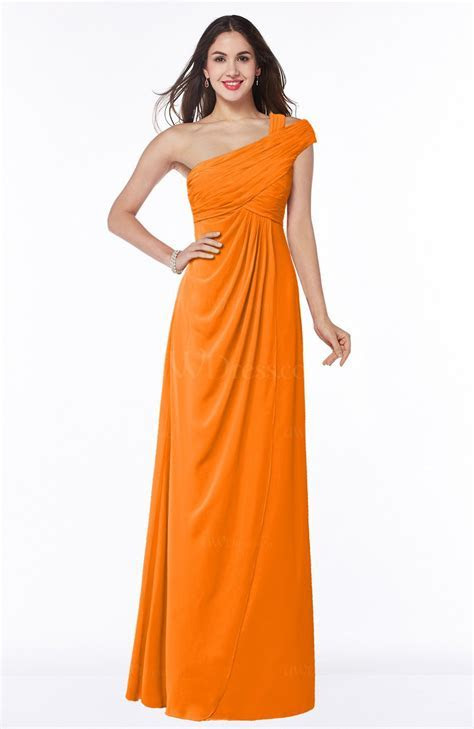 Orange Elegant One Shoulder Chiffon Floor Length Ruching
