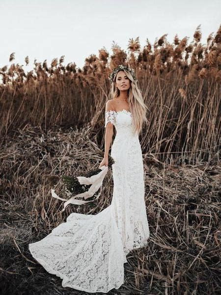 Ivory Mermaid Lace Rustic Off The Shoulder Beach Wedding