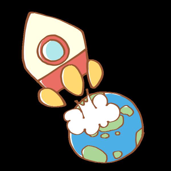 地球から飛び立つロケットのイラスト かわいいフリー素材が無料の