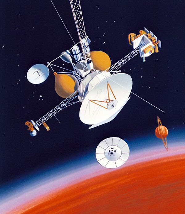 A 1988 art concept of the Mariner Mark II spacecraft...which would later evolve into the Cassini probe.